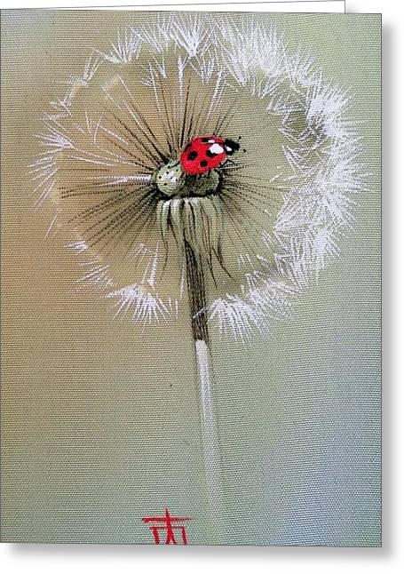 Ladybug On Dandelion Greeting Card