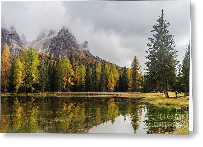 Lago Antorno With Mauntain Reflected In Greeting Card
