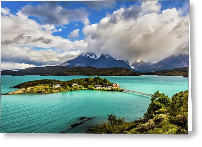 Lago Pehoe, Chile Greeting Card