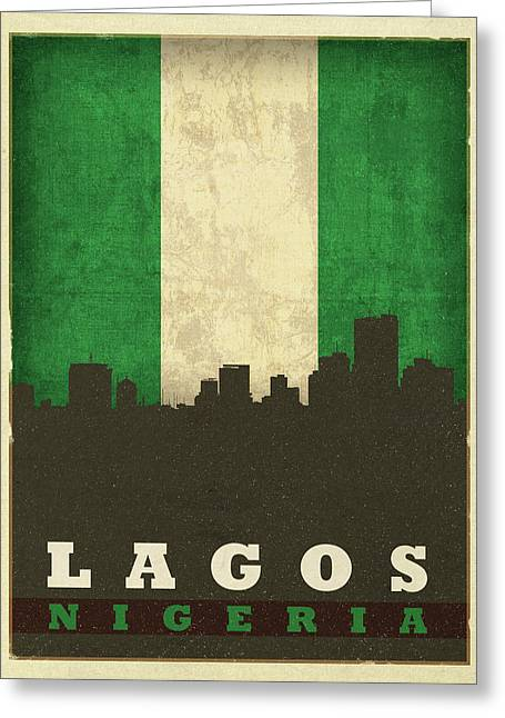 Lagos Nigeria World City Flag Skyline Greeting Card