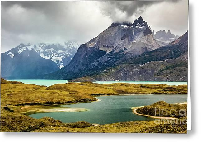 Laguna Larga, Lago Nordernskjoeld, Cuernos Del Paine, Torres Del Paine, Chile Greeting Card