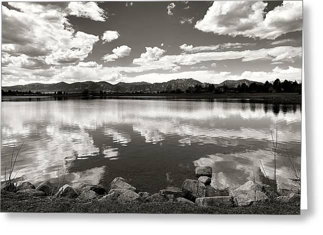 Lake At Foothills Bw Greeting Card