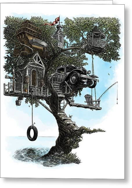 Greeting Card featuring the drawing Lake Front Dream House by Clint Hansen