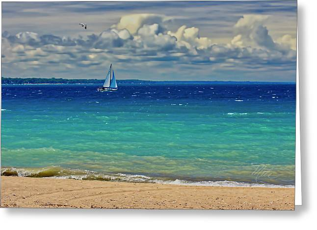 Lake Huron Sailboat Greeting Card