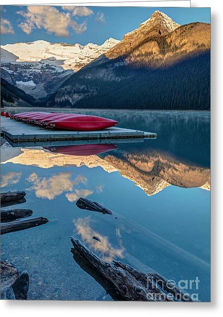 Lake Louise Canoes In Banff National Greeting Card