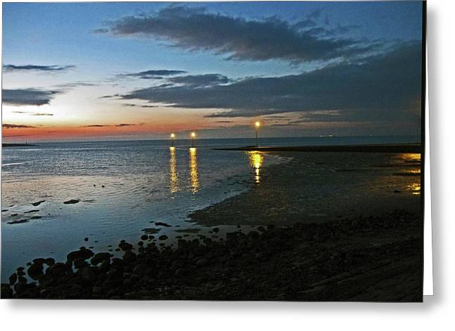 Lancashire. Knott End. Sunset.. Greeting Card