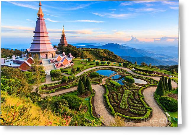 Landmark Unseen Thailand  Pagoda In Greeting Card