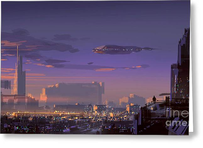 Landscape Digital Painting Of Sci-fi Greeting Card