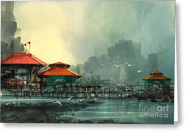 Landscape Of Beautiful Harbor,fishing Greeting Card