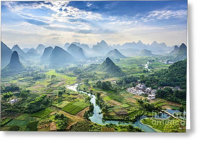 Landscape Of Guilin, Li River And Karst Greeting Card