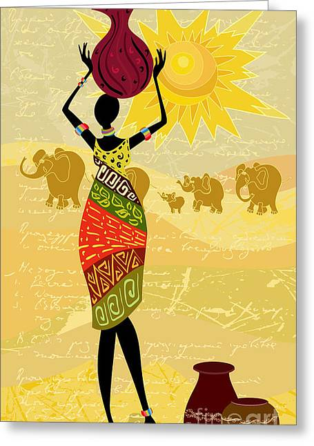 Landscape With An African Woman Greeting Card