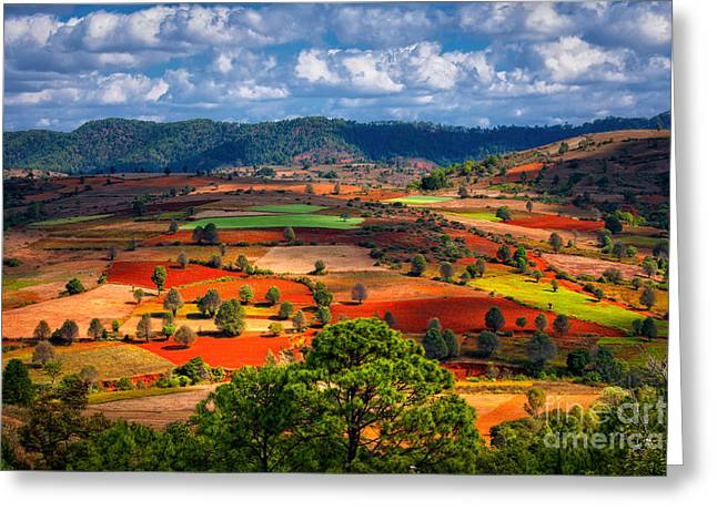 Landscapes Of Shan State, Myanmar Greeting Card