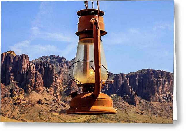 Lantern Over Superstitions Greeting Card