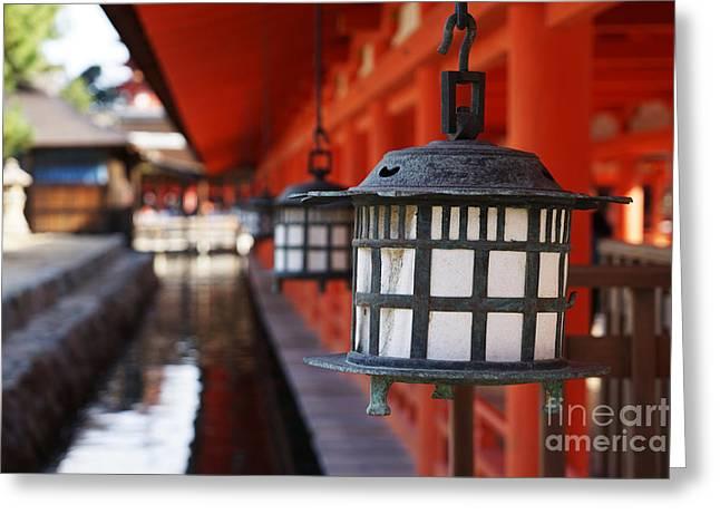 Lanterns In Itsukushima Shrine Greeting Card