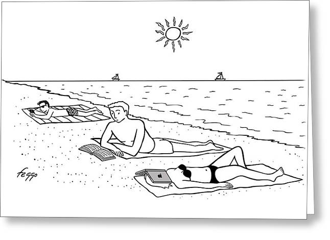Laptop At The Beach Greeting Card