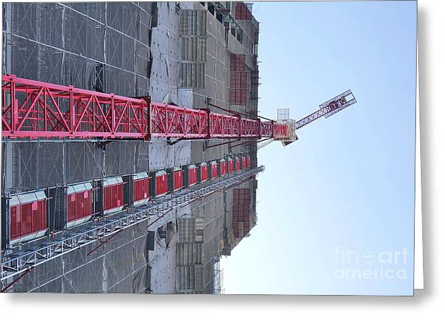 Greeting Card featuring the photograph Large Scale Construction Site With Crane by Yali Shi