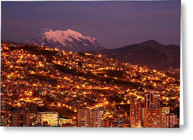 Last Light On Illimani (6438m/21,122ft Greeting Card by David Wall