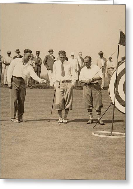 Late 1920 S Lou Gehrig On The Golf Course Greeting Card