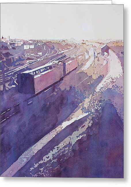 Late Afternoon Freight Greeting Card