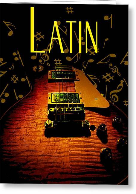 Latin Guitar Music Notes Greeting Card