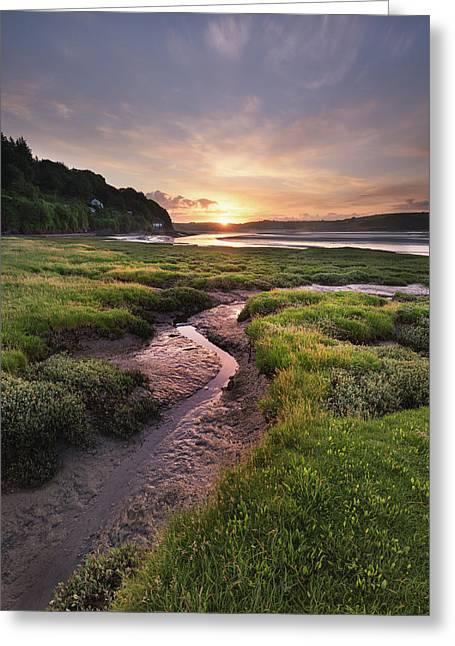 Laugharne Estuary At Sunrise Greeting Card