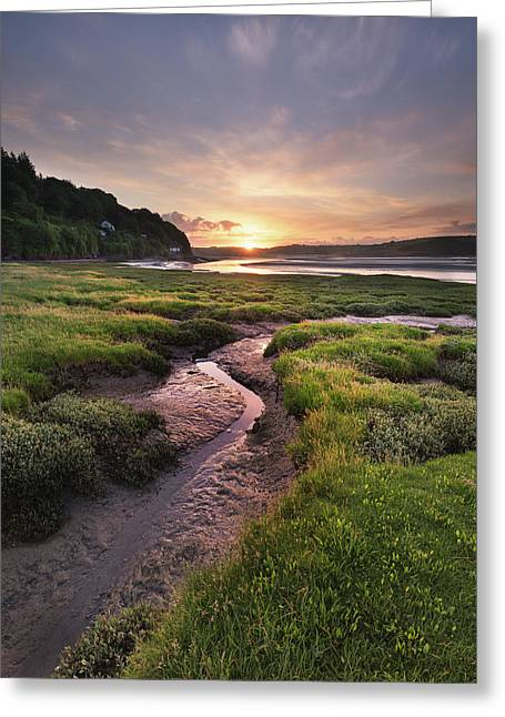 Greeting Card featuring the photograph Laugharne Estuary At Sunrise by Elliott Coleman