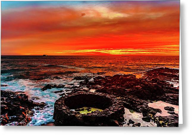 Lava Bath After Sunset Greeting Card