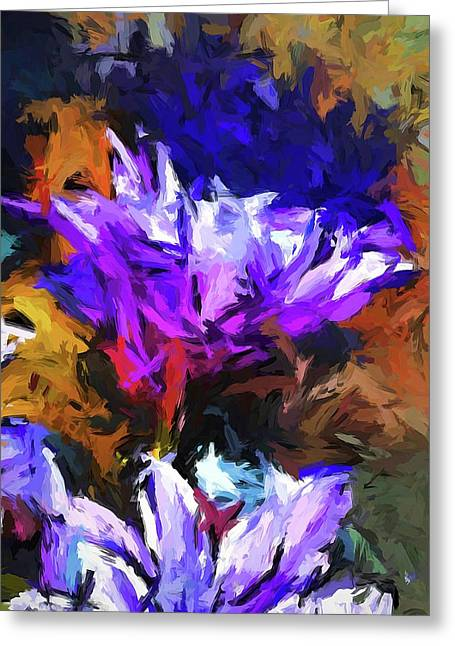 Lavender Flower And The Cobalt Blue Reflection Greeting Card