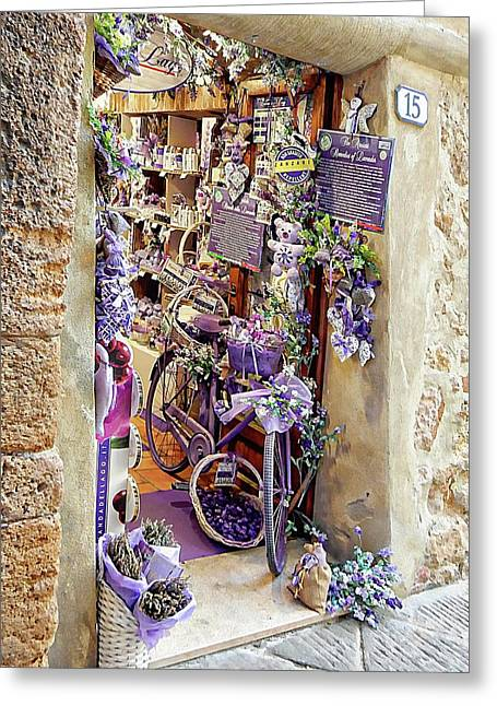 Greeting Card featuring the photograph Lavender Shop Pienza by Dorothy Berry-Lound