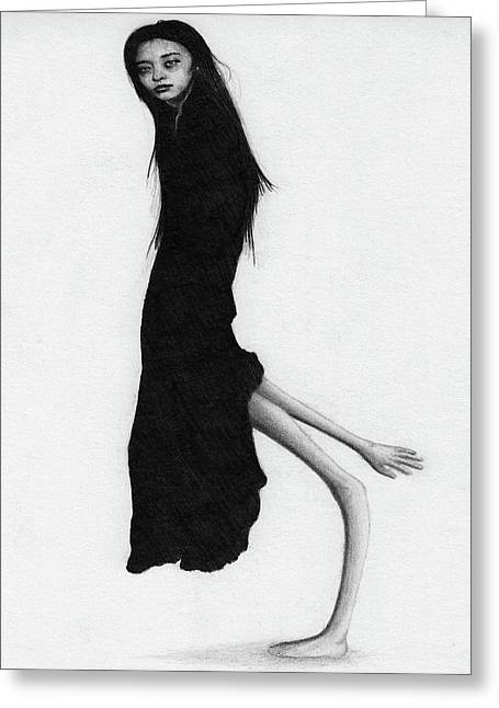 Leaning Woman Ghost - Artwork Greeting Card