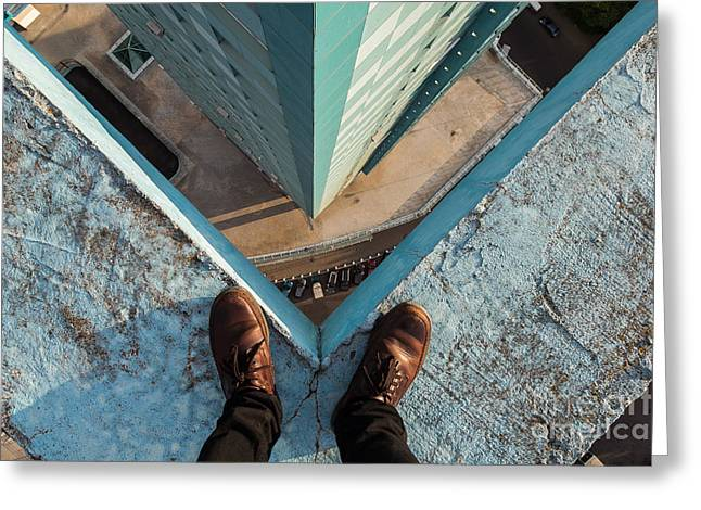 Legs Of A Man Standing On The Edge Greeting Card