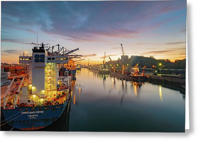 Greeting Card featuring the photograph Leixoes Harbour by Bruno Rosa