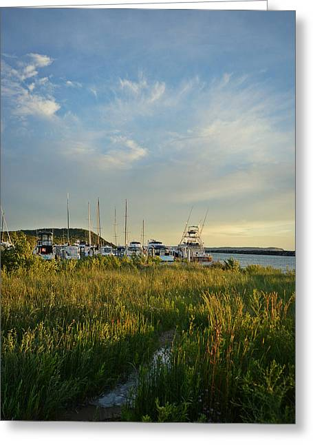 Greeting Card featuring the photograph Leland Harbor At Sunset by SimplyCMB