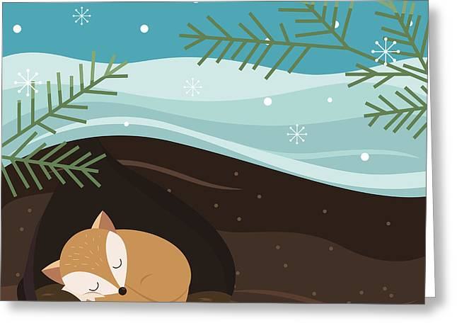 Let It Snow. Fox Sleeping In A Hole Greeting Card