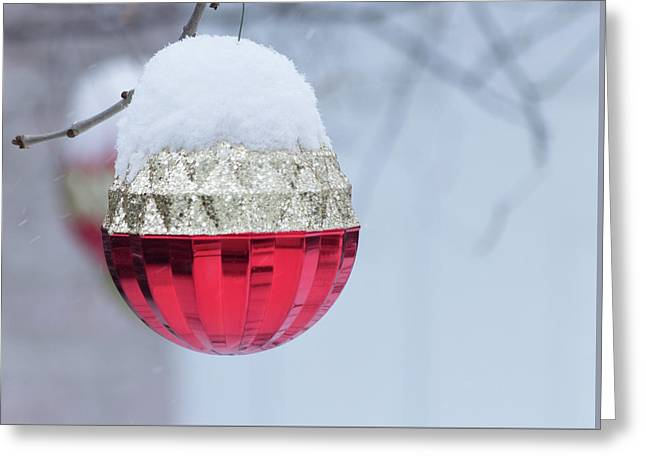 Greeting Card featuring the photograph Let It Snow On The Red Christmas Ball - Outside Winter Scene  by Cristina Stefan