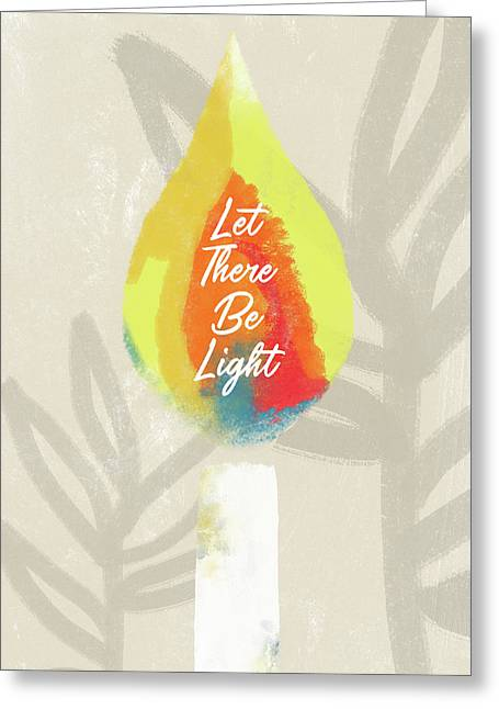 Greeting Card featuring the mixed media Let There Be Light Candle- Art By Linda Woods by Linda Woods