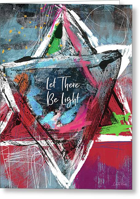 Greeting Card featuring the mixed media Let There Be Light Expressionist Star- Art By Linda Woods by Linda Woods