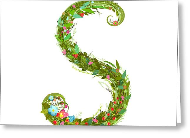 Letter S Floral Latin Decorative Greeting Card