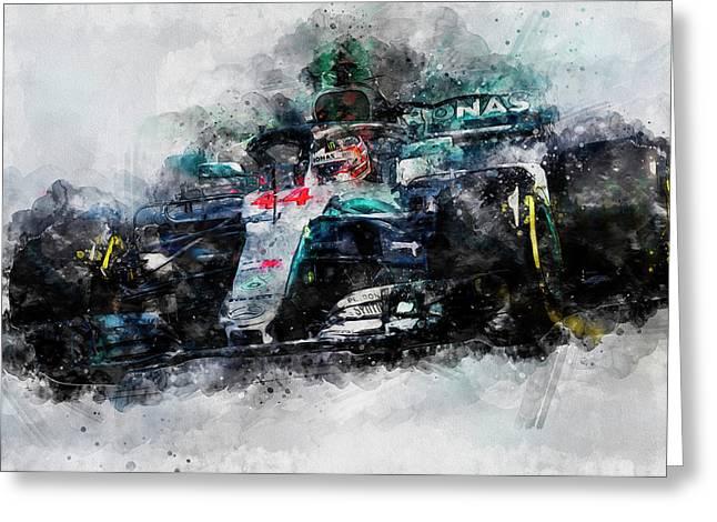 Lewis Hamilton, Mercedes Amg F1 W09 - 10 Greeting Card