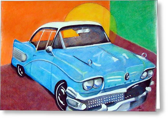 Light Blue 1950s Car  Greeting Card