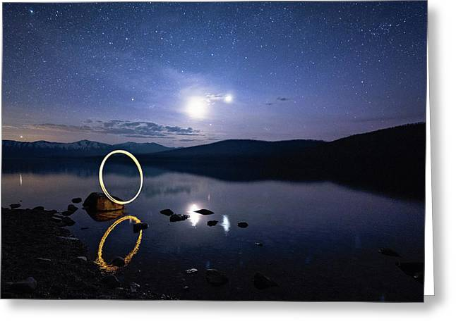 Light Painting Lake Mcdonald Greeting Card