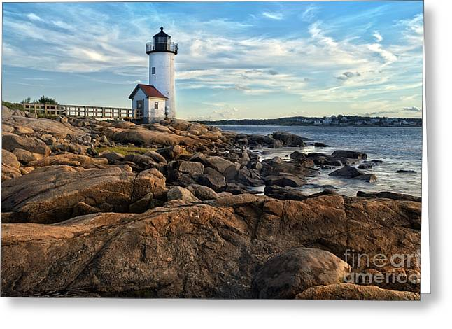 Lighthouse At Sunset Off Annisquam Greeting Card