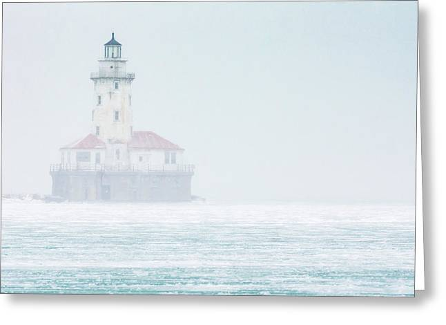 Lighthouse In The Mist Greeting Card