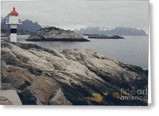 Lighthouse On Rocks Near The Atlantic Coast, Digital Art Oil Pai Greeting Card
