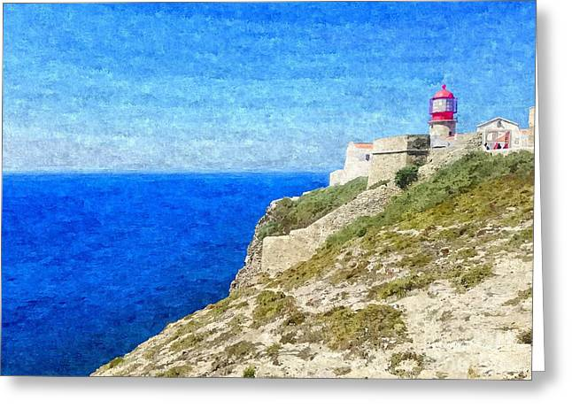 Lighthouse On Top Of A Cliff Overlooking The Blue Ocean On A Sunny Day, Painted In Oil On Canvas. Greeting Card