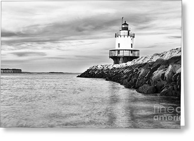Lighthouse On Top Of A Rocky Island In Greeting Card