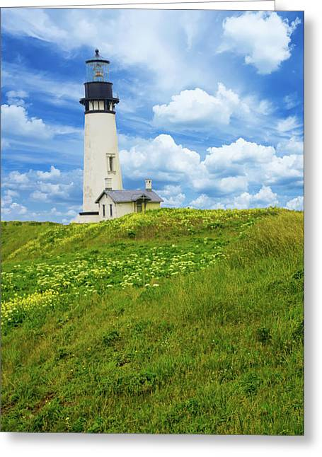 Lighthouse On  Yaquina Head  Greeting Card