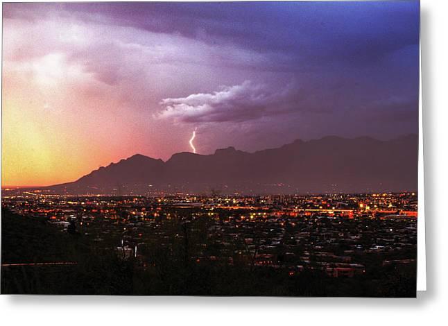 Lightning Bolt Over The Santa Catalina Mountains And Tucson, Arizona Greeting Card