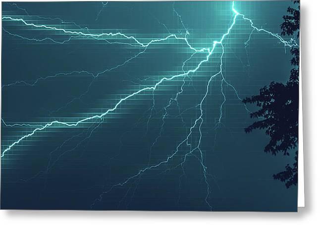 Lightning Grid Greeting Card
