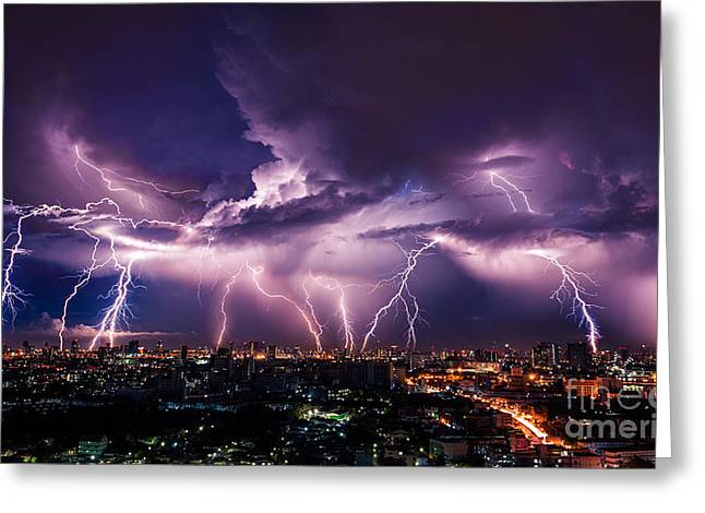 Lightning Storm Over City In Purple Greeting Card